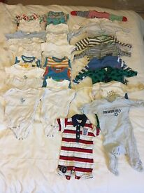 0-3 month baby boy 'gros & sleepsuits' clothes bundle (newborn,0-3, 3-6, 6-9, 9-12, 12-18 available)