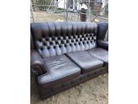 Brown Leather Sofa and 2 Arm Chairs