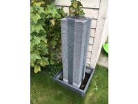 Luxury Granite Tower Fountain Water Feature with granite base in very good condition, free standing
