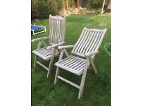 2 hardwood recliner garden chairs