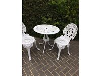 WHITE SHABBY CHIC GARDEN FURNITURE SET - TWO CHAIRS AND ROUND TABLE