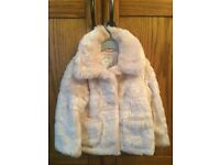Girls pale pink fur coat brand new with tags