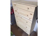 IKEA Gorgeous Pine Chest of 5 drawers virtually brand new and assembled £50