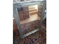 silver beveled ornate antique style wall mirror