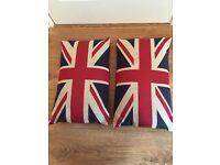 Two Union Jack cushions