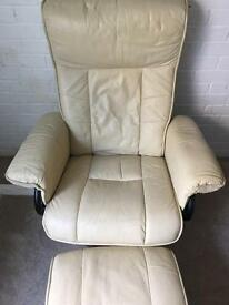 Cream leather chair with footstool