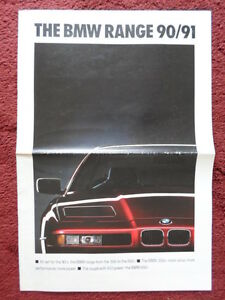 bmw range 1990 1991 uk market brochure broadsheet 3 5 7 8 series m3 m5 z1 ebay. Black Bedroom Furniture Sets. Home Design Ideas