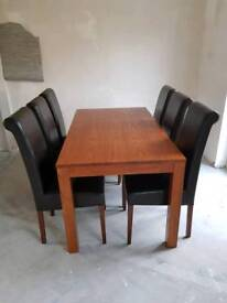 Dining table & 6 rollback chairs. Inca by zone furniture