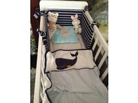 Mothercare hyde crib with matress and bedding set.