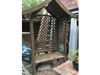 GARDEN BENCH WITH CANOPY, STURDY AND STRONG