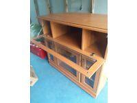 Wooden & glass shelving / TV unit