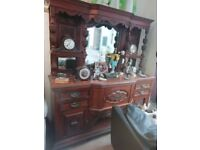 Oak wood ornate sideboard in very good condition H 200cm W 182cm Can help with deliver
