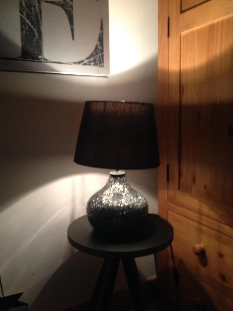 Dunelm mill silver mirrored glass crackled lamp with black shade