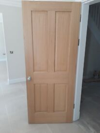 4 x 4 panel oak veneer door, brand new in wrapping. End of project extras retail at £167 each