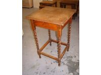 Solid Oak Hall Occasional Table with Barley Twist Legs
