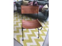 6 x dining chairs leather and iron, originally JOHN Lewis