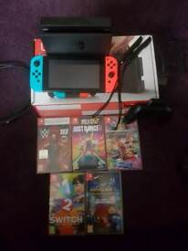 Nintendo switch and 5 games