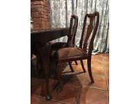 Walnut dining table and 4 chairs