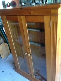 Largish Solid Pine glass-fronted display cabinet with 4 wood shelves, excellent condition