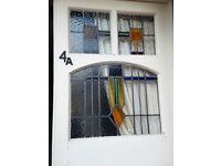 Antique Victorian Set Pair Entrance Porch Front Doors Stained Glass Lead Grouting
