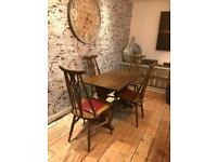 Old charm solid oak vintage dining table and chairs