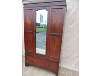 Quality Unique Vintage Wardrobe with drawer and mirror (Delivery)