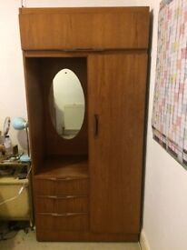 Lovely wardrobe with mirror, light and drawers