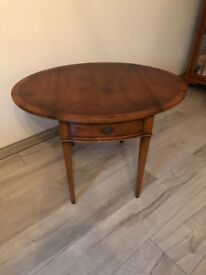 Yew reproduction lamp table by Rackstraw