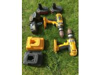 2 x DeWalt XRP DW 984 Type 10 battery drills and 2 x chargers - no working batteries!