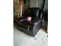 Genuine leather recliner chair. Scarcely used.