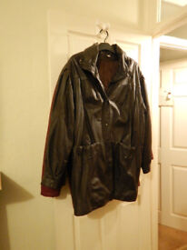 brown leather 3/4 coat