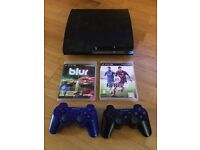 PS3 Console, 2 Controllers, 2 Games