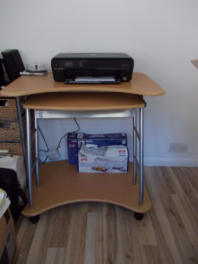 Compact Computer Desk On Wheels Pull Out Keyboard Shelf Space For Desktop Laptop