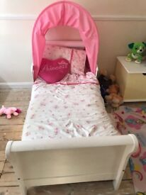 Wooden toddlers sleigh bed