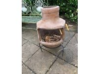 Chiminea with wire grill