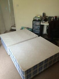 Comfy blue double bed for sale including the mattress - collection only
