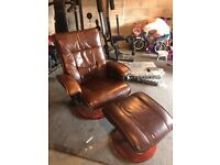 Office Leather Arm Chair & Matching Footrest