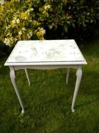 Glass topped occasional table painted dove grey