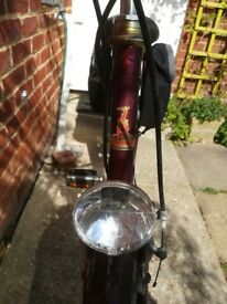 gc Vintage maroon Raleigh bicycle,bike rack,stand,dynamos. Handlebars some spotting,needs tyres
