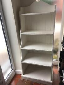 Solid Pine shabby chic waterfall bookcase in white