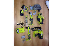 New Ryobi Set One+ (nailer,planer,angle grinder&drill,battery,charger)