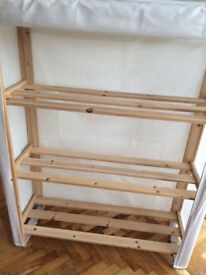 PINE shelving unit with canvas cover with added pockets