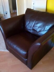 Leather brown armchair,New.
