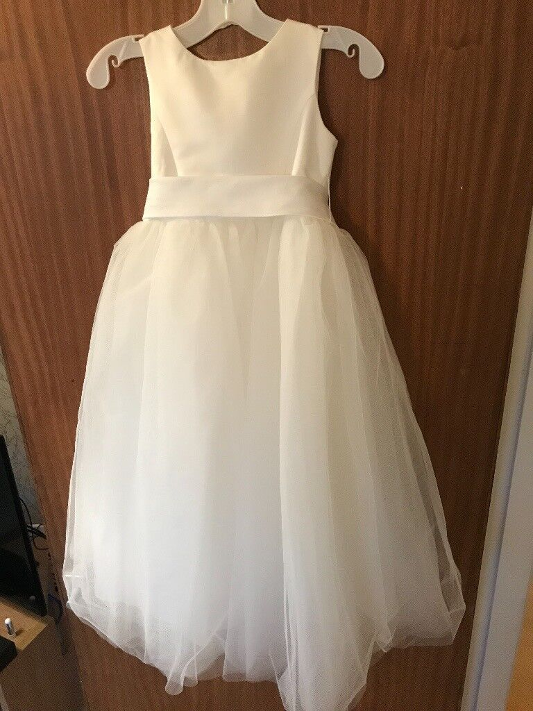 51856634767 Davids Bridal Satin Flower Girl Dress with Full Tulle Skirt (2 x age 4 and  1 x age 5 available)