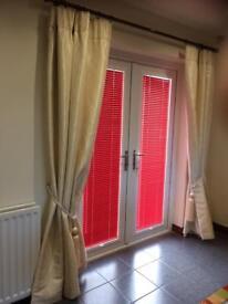 Cream Lined Curtains , Curtain Pole & Tie Backs
