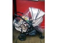 Britax Double Buggy (Good Condition) with Rain Cover