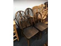 SET OF SIX ERCOL VINTAGE WHEEL BACK CHAIRS