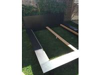 Large black wooden bed, fit perfectly 160x200 mattress, free mattress optional