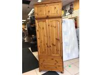 Tall pinewood wardrobe with removable blanket box £90