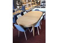Oval strong table and 6 chairs (2 grey and 4 white)